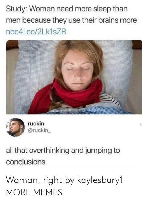 Brains, Dank, and Memes: Study: Women need more sleep than  men because they use their brains more  nbc4i.co/2Lk1sZB  ruckin  @ruckin  all that overthinking and jumping to  conclusions Woman, right by kaylesbury1 MORE MEMES