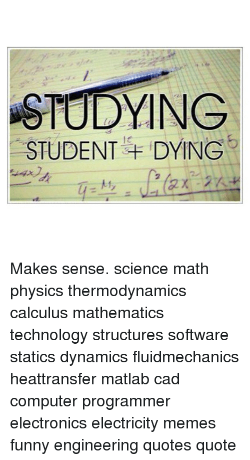 Computers Funny And Meme STUDYING STUDENT DYING Makes Sense Science Math Physics