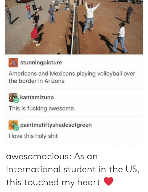 Fucking, Love, and Shit: stunningpicture  Americans and Mexicans playing volleyball over  the border in Arizona  kantamizuno  This is fucking awesome.  paintmefiftyshadesofgreen  I love this holy shit awesomacious:  As an International student in the US, this touched my heart ❤️