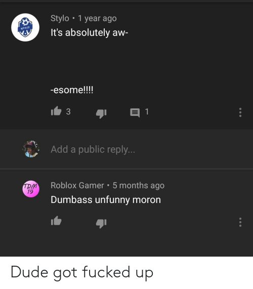 Dude, Roblox, and Got: Stylo 1 year ago  It's absolutely aw-  -esome!!!!  Add a public reply  Roblox Gamer 5 months ago  Dumbass unfunny moron  TDM  79 Dude got fucked up