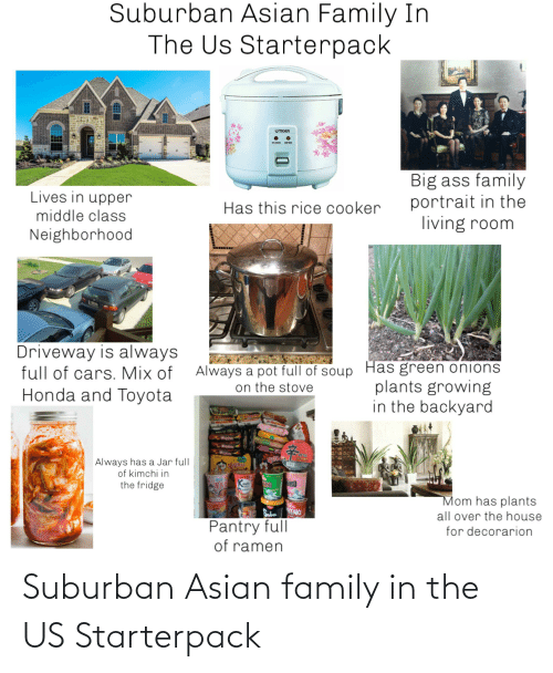 Asian, Family, and Starter Packs: Suburban Asian family in the US Starterpack