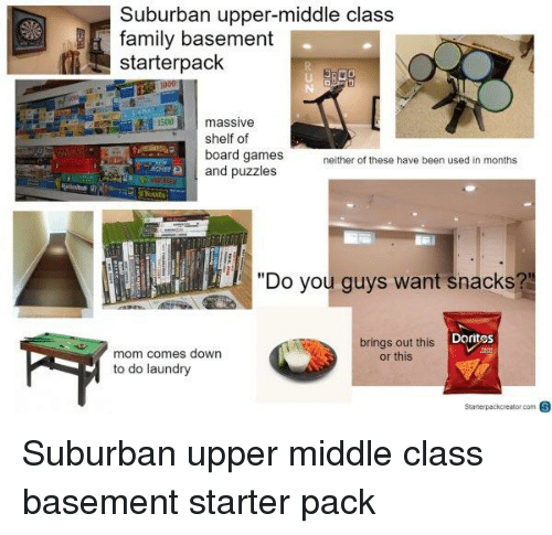 "Family, Laundry, and Starter Packs: Suburban upper-middle class  family basement  starterpack  massive  shelf of  board games  and puzzles  neither of these have been used in months  ""Do you guys want snacks?  Doritos  mom comes down  to do laundry  brings out this  or this"