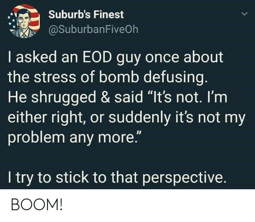 """Boom, Stress, and Once: Suburb's Finest  @SuburbanFiveOh  I asked an EOD guy once about  the stress of bomb defusing.  He shrugged & said """"It's not. I'm  either right, or suddenly it's not my  problem any more.""""  I try to stick to that perspective. BOOM!"""