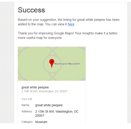 Success Based on Your Suggestion the Listing for Great White Peepee ...