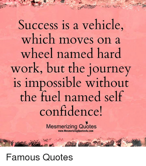 Success Is A Vehicle Which Moves On A Wheel Named Hard Work But The