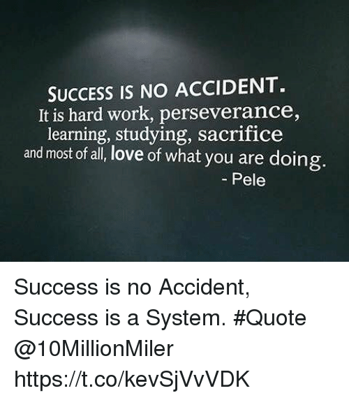 Success Is No Accident It Is Hard Work Perseverance Learning