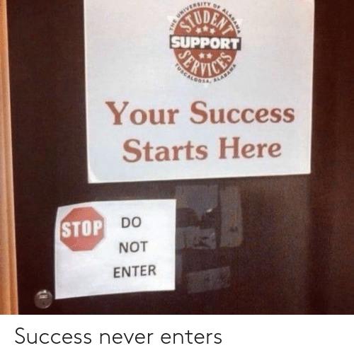 Never, Success, and Enters: Success never enters