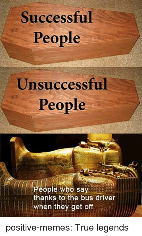 Memes, Target, and True: Successful  People  Unsuccessful  People  People who say  thanks to the bus driver  when they get off positive-memes: True legends