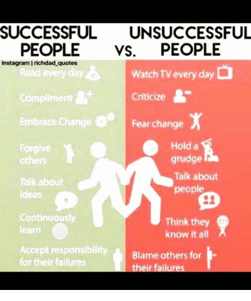 Successful Unsuccessful People Vs People Instagram Irichdad Quotes O