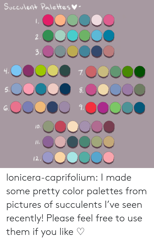 Target, Tumblr, and Blog: Succulent Palettesy  7  5.  3.  I0 lonicera-caprifolium:  I made some pretty color palettes from pictures of succulents I've seen recently! Please feel free to use them if you like ♡