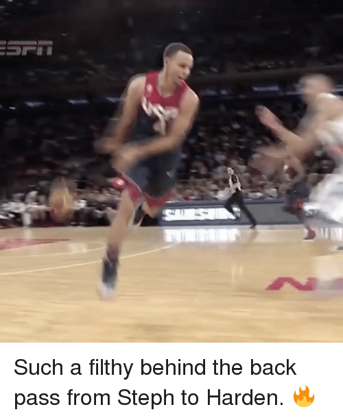Basketball, Golden State Warriors, and Sports: Such a filthy behind the back pass from Steph to Harden. 🔥