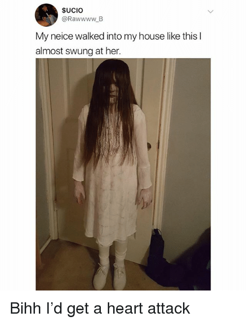 Memes, My House, and Heart: SUCIO  @RawwwwB  My neice walked into my house like thisl  almost swung at her. Bihh I'd get a heart attack
