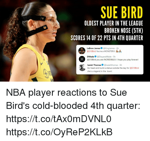Head, LeBron James, and Memes: SUE BIRD  OLDEST PLAYER IN THE LEAGUE  BROKEN NOSE (5TH)  SCORES 14 OF 22 PTS IN 4TH QUARTER  LeBron James@KingJames 6h  @S10Bird You're a MONSTER!!!  DWade@DwyaneWade 5h  @S10Bird you are INCREDIBLE!!! I hope you play forever!  Isaiah Thomas@isaiahthomas 6h  Go head and build a statue outside the key for @S10Bird  she's a legend in the town! NBA player reactions to Sue Bird's cold-blooded 4th quarter:  https://t.co/tAx0mDVNL0 https://t.co/OyReP2KLkB