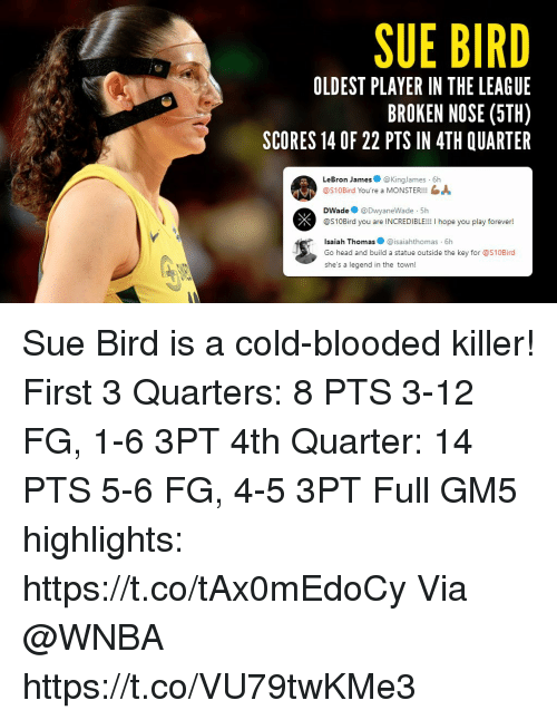 Head, LeBron James, and Memes: SUE BIRD  OLDEST PLAYER IN THE LEAGUE  BROKEN NOSE (5TH)  SCORES 14 OF 22 PTS IN 4TH QUARTER  LeBron James@KingJames 6h  @S10Bird You're a MONSTER!!!  DWade@DwyaneWade 5h  @S10Bird you are INCREDIBLE!!! I hope you play forever!  Isaiah Thomas@isaiahthomas 6h  Go head and build a statue outside the key for @S10Bird  she's a legend in the town! Sue Bird is a cold-blooded killer!   First 3 Quarters: 8 PTS 3-12 FG, 1-6 3PT  4th Quarter: 14 PTS 5-6 FG, 4-5 3PT  Full GM5 highlights: https://t.co/tAx0mEdoCy Via @WNBA https://t.co/VU79twKMe3