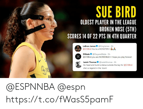 Espn, Head, and LeBron James: SUE BIRD  OLDEST PLAYER IN THE LEAGUE  BROKEN NOSE (5TH)  SCORES 14 OF 22 PTS IN 4TH QUARTER  LeBron James@KingJames 6h  @S10Bird You're a MONSTER!!!  DWade@DwyaneWade 5h  @S10Bird you are INCREDIBLE!!! I hope you play forever!  Isaiah Thomas@isaiahthomas 6h  Go head and build a statue outside the key for S10Bird  she's a legend in the town! @ESPNNBA @espn https://t.co/fWasS5pamF