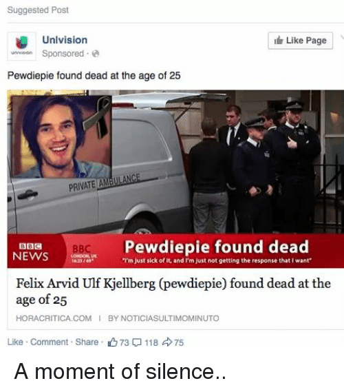 Suggested Post Unlvision Sn Sponsored Like Page Pewdiepie