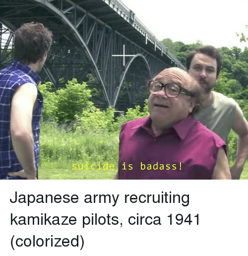 Army, Suicide, and Badass: suicide is badass! Japanese army recruiting kamikaze pilots, circa 1941 (colorized)