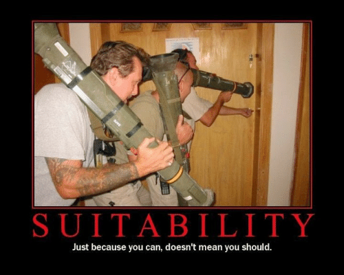 Mean, Can, and You: SUITABILITY  Just because you can, doesn't mean you should.
