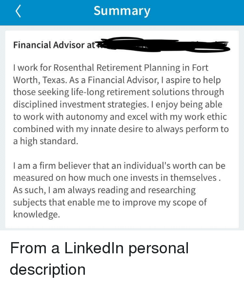 summary financial advisor at i work for rosenthal retirement