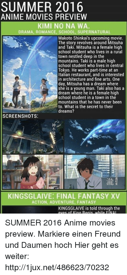 summer 2016 anime movies preview kimi no na wa drama romance school