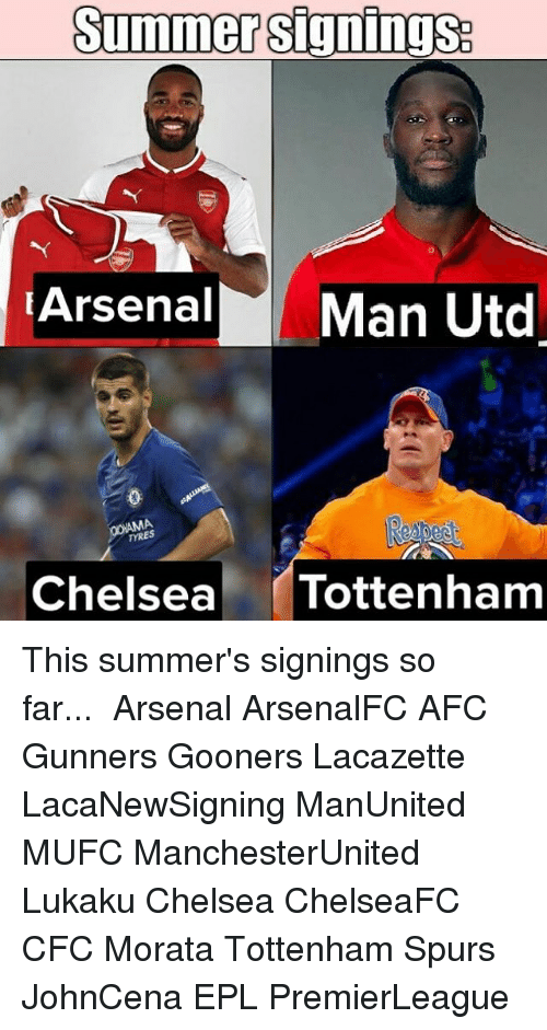 Arsenal, Chelsea, and Memes: Summer signings  Arsenal Man Utd  TYRES  Chelsea Tottenham This summer's signings so far...⠀ ⠀ Arsenal ArsenalFC AFC Gunners Gooners Lacazette LacaNewSigning ManUnited MUFC ManchesterUnited Lukaku Chelsea ChelseaFC CFC Morata Tottenham Spurs JohnCena EPL PremierLeague