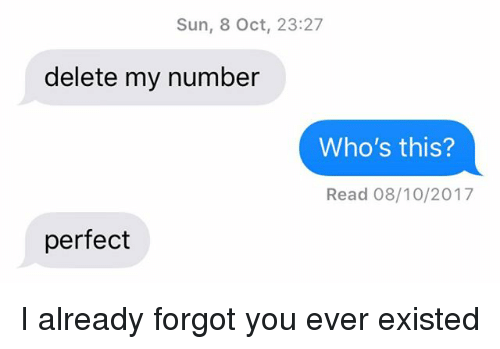 Relationships, Texting, and Sun: Sun, 8 Oct, 23:27  delete my number  Who's this?  Read 08/10/2017  perfect I already forgot you ever existed