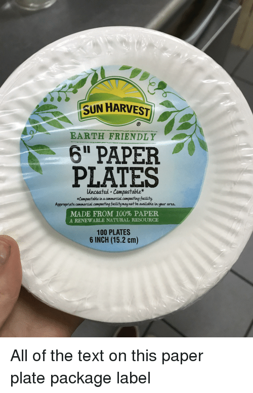Anaconda Facepalm and Earth SUN HARVEST EARTH FRIENDLY 6  PAPER PLATES Unceated : are paper plates compostable - pezcame.com