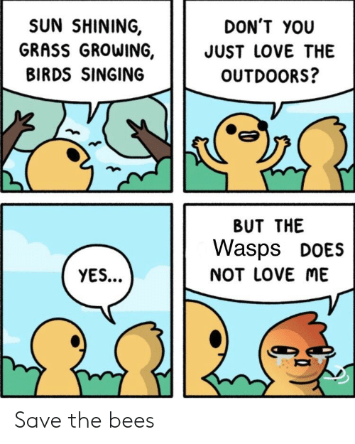 Love, Reddit, and Singing: SUN SHINING,  GRASS GROWING,  BIRDS SINGING  DON'T YOU  JUST LOVE THE  OUTDOORS?  BUT THE  Wasps DOES  NOT LOVE ME  YES... Save the bees