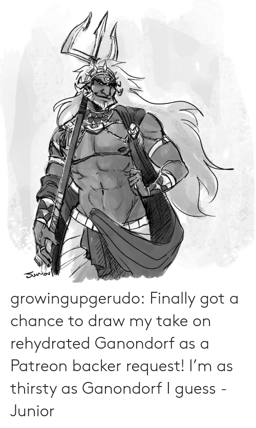 Thirsty, Tumblr, and Blog: Sunror growingupgerudo:  Finally got a chance to draw my take on rehydrated Ganondorf as a Patreon backer request!I'm as thirsty as Ganondorf I guess-Junior