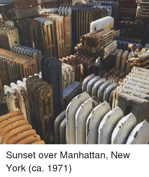 New York, Manhattan, and Sunset: Sunset over Manhattan, New York (ca. 1971)