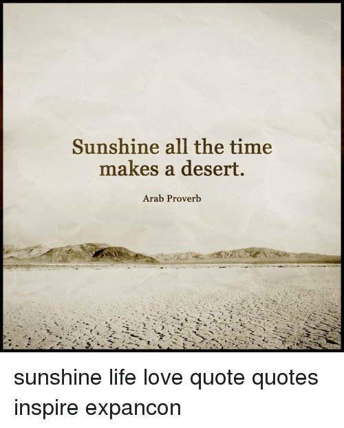 Sunshine All The Time Makes A Desert Arab Proverb Sunshine Life Love Unique Life Love Quotes