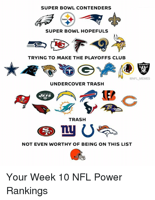 Club, Memes, and Nfl: SUPER BOWL CONTENDERS  Steelers  SUPER BOWL HOPEFULS  TRYING TO MAKE THE PLAYOFFS CLUB  @NFL MEMES  UNDERCOVER TRASH  JETS  TRASH  四。  NOT EVEN WORTHY OF BEING ON THIS LIST Your Week 10 NFL Power Rankings