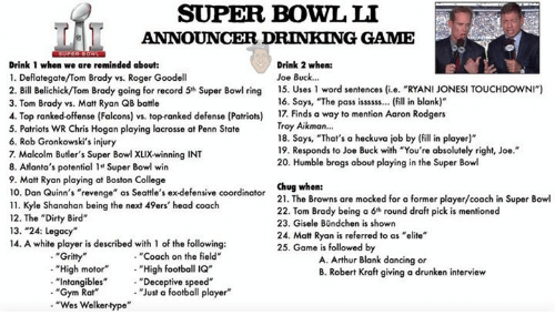 SUPER BOWL LI ANNOUNCER DRINKING GAME Drink 1 When We Are