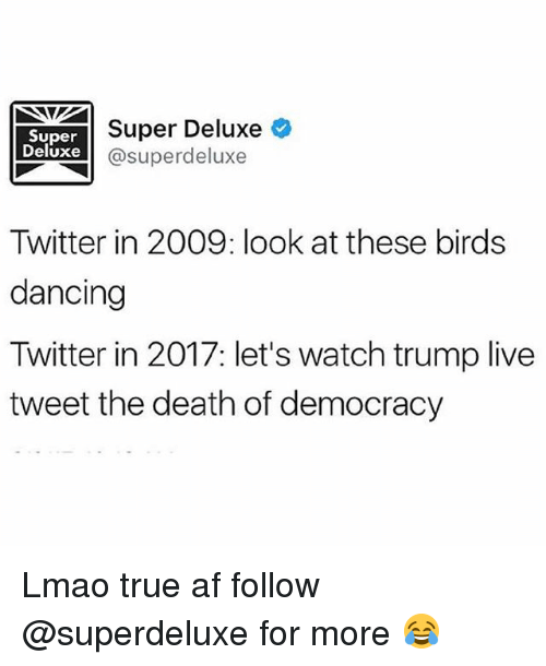 Af, Dancing, and Lmao: Super  Deluxe  Super Deluxe  @superdeluxe  Twitter in 2009: look at these birds  dancing  Twitter in 2017: let's watch trump live  tweet the death of democracy Lmao true af follow @superdeluxe for more 😂