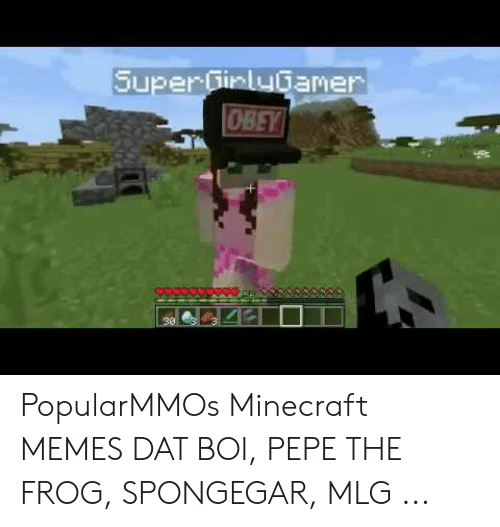 Super Girlygamer Obey Popularmmos Minecraft Memes Dat Boi Pepe The