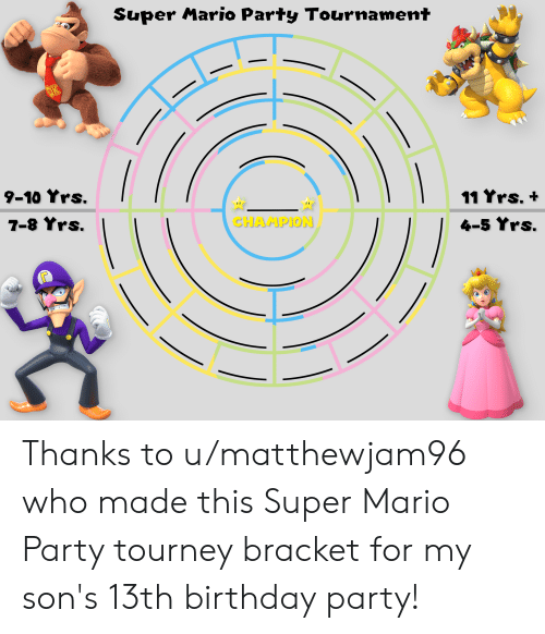 Birthday, Party, and Super Mario: Super Mario Party Tournament  9-10 Yrs.  11 Yrs.+  4-5 Yrs.  CHAMPION Thanks to u/matthewjam96 who made this Super Mario Party tourney bracket for my son's 13th birthday party!