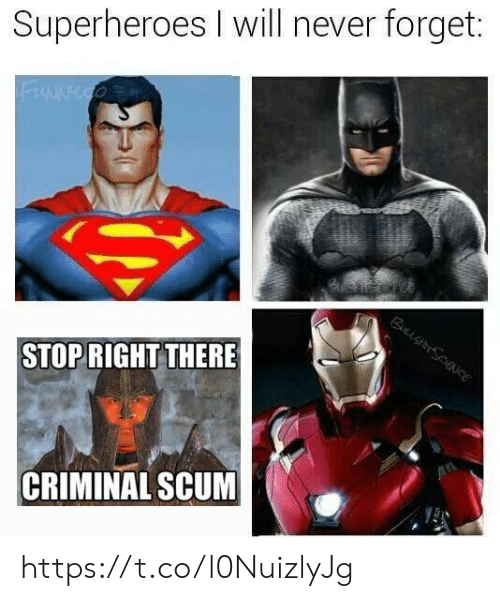 Never, Criminal, and Superheroes: Superheroes I will never forget:  STOPRIGHT THERE  CRIMINAL SCUM https://t.co/l0NuizlyJg