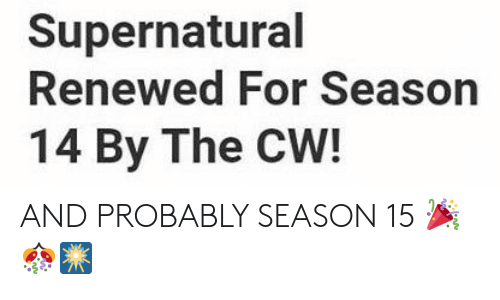Memes, Supernatural, and 🤖: Supernatural  Renewed For Season  14 By The CW! AND PROBABLY SEASON 15 🎉🎊🎆