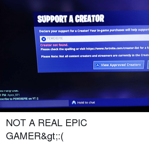 Epic games fortnite support a creator