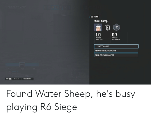 SUPPORT MODE Esc CLOSE Water-Sheep- Jeb 125 07 10 RANKED