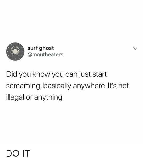 Ghost, Relatable, and Can: surf ghost  @moutheaters  Did you know you can just start  screaming, basically anywhere. It's not  illegal or anything DO IT