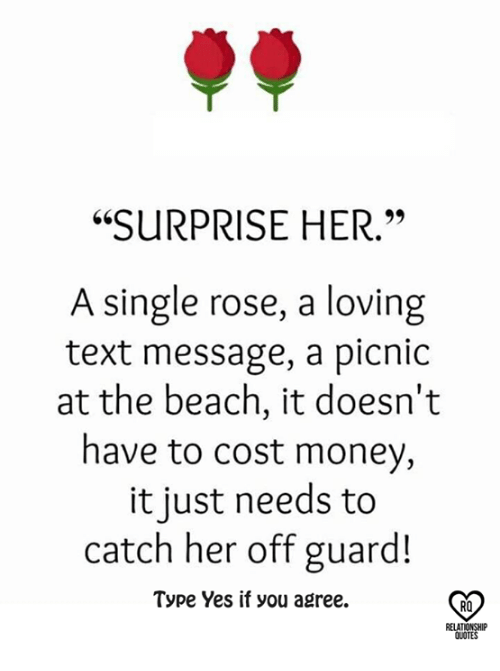 "Memes, Money, and Beach: ""SURPRISE HER.""  A single rose, a loving  text message, a picnic  at the beach, it doesn't  have to cost money,  it just needs to  catch her off guard!  Type Yes if you agree.  RO  RELAT  QUOTES"
