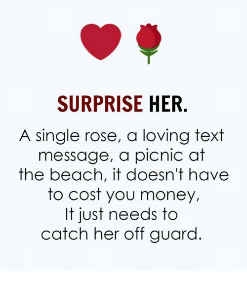 Memes, Money, and Beach: SURPRISE HER  A single rose, a loving text  message, a picnic at  the beach, it doesn't have  to cost you money,  It just needs to  catch her off guard