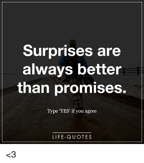 Surprises Are Always Better Than Promises Type Yes If You Agree