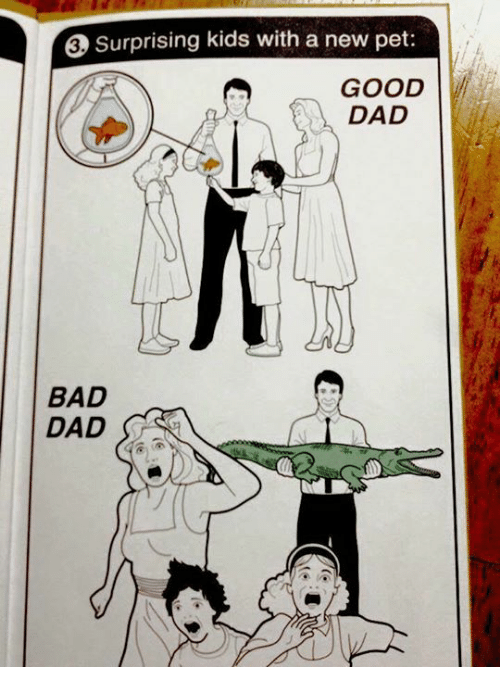 surprising kids with a new pet good dad bad dad 16403404 surprising kids with a new pet good dad bad dad meme on me me