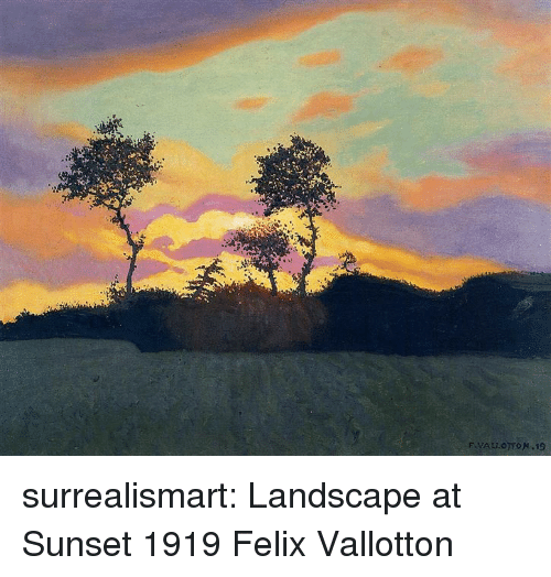 Tumblr, Blog, and Search: surrealismart:    Landscape at Sunset  1919  Felix Vallotton