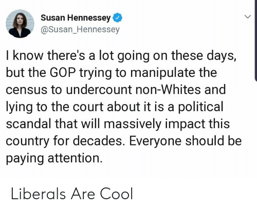 Cool, Scandal, and Lying: Susan Hennessey  @Susan_Hennessey  I know there's a lot going on these days,  but the GOP trying to manipulate the  census to undercount non-Whites and  lying to the court about it is a political  scandal that will massively impact this  country for decades. Everyone should be  paying attention. Liberals Are Cool