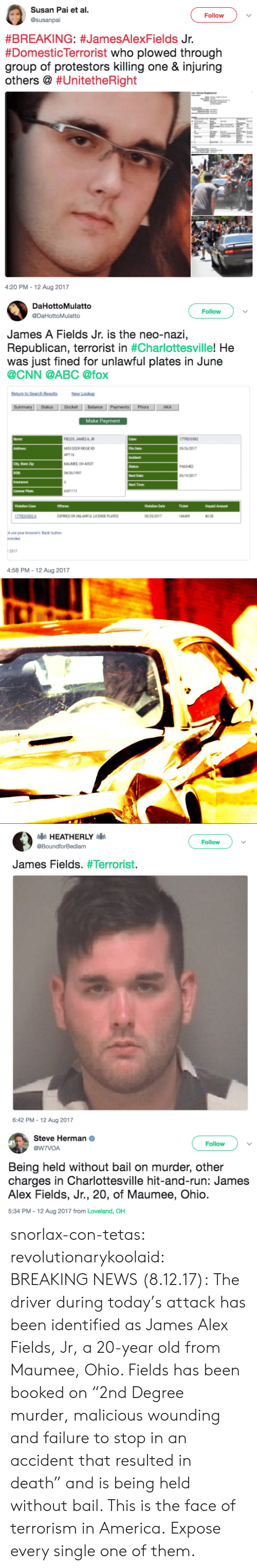 """Abc, America, and cnn.com: Susan Pai et al  Follow  #BREAKING: #JamesAlexFields Jr.  #Domesticlerrorist who plowed through  group of protestors killing one & injuring  others @ #Un.tetheRight  4:20 PM-12 Aug 2017   DaHottoMulatto  @DaHottoMulatto  Follow  James A Fields Jr. is the neo-nazi,  Republican, terrorist in #Charlottesville,He  was just fined for unlawful plates in June  @CNN @ABC @fox  New Lookup  StatusDocket Balance  Priors  Make Payment  FIELDS JAMESA R  6853 DEER RIDGE RD  АРТН  MAUMEE OH 4353  5 26/2017  NISHED  Next Date  Next Time  GVF1111  Ticket  Unpeid Amount  EXPIREDOR UNLAWFUIL LICENSE PLATES  0.00  ot use your browsers Back button  2017  4:58 PM-12 Aug 2017   Follow  @BoundforBedlam  James Fields. #Terrorist·  6:42 PM-12 Aug 2017   Steve Herman  @W7VOA  Follow  Being held without bail on murder, other  charges in Charlottesville hit-and-run: James  Alex Fields, Jr., 20, of Maumee, Ohio  5:34 PM-12 Aug 2017 from Loveland, OH snorlax-con-tetas: revolutionarykoolaid:   BREAKING NEWS (8.12.17):The driver during today's attack has been identified as James Alex Fields, Jr, a 20-year old from Maumee, Ohio. Fields has been booked on """"2nd Degree murder, malicious wounding and failure to stop in an accident that resulted in death"""" and is being held without bail.  This is the face of terrorism in America.   Expose every single one of them."""
