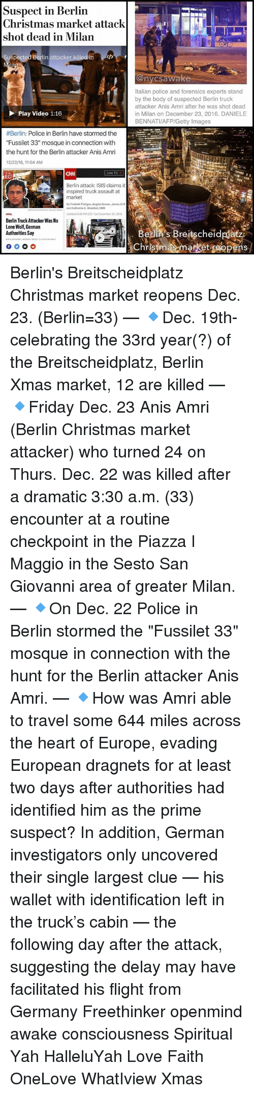 Suspect in Berlin Christmas Market Attack Shot Dead in Milan ...