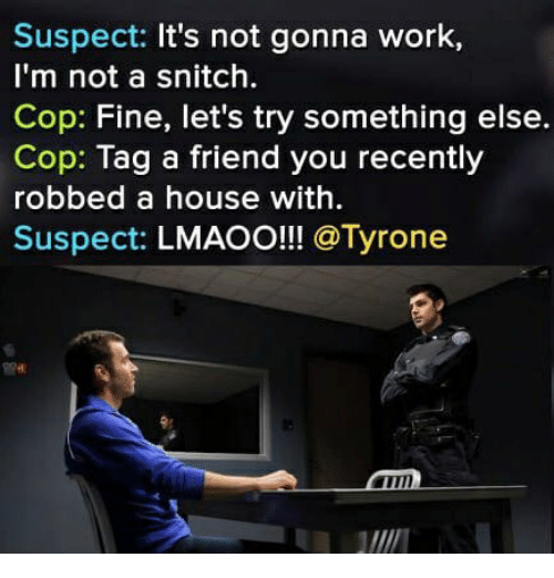 Snitch, Work, and House: Suspect: It's not gonna work,  I'm not a snitch.  Cop: Fine, let's try something else.  Cop: Tag a friend you recently  robbed a house with.  Suspect: LMAOO!!! @Tyrone